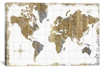 iCanvas 'Gilded Map' Giclee Print Canvas Art
