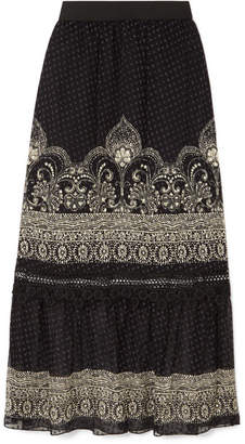 Anna Sui Fountains Of Fancy Printed Fil Coupé Silk-blend Chiffon Maxi Skirt - Black