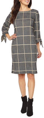 Ronni Nicole 3/4 Sleeve Windowpane Shift Dress