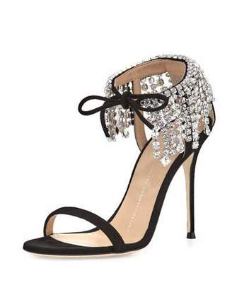 Giuseppe Zanotti Mistico Crystal Ankle-Wrap 105mm Sandal $1,295 thestylecure.com