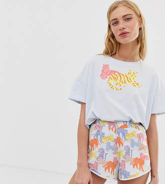 Monki tiger design pyjama set in light blue