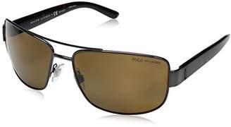 Polo Ralph Lauren Men's Metal Man Polarized Rectangular Sunglasses