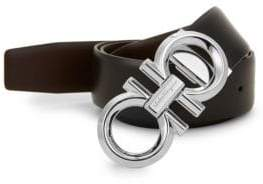 Salvatore Ferragamo Leather Metal Logo Belt