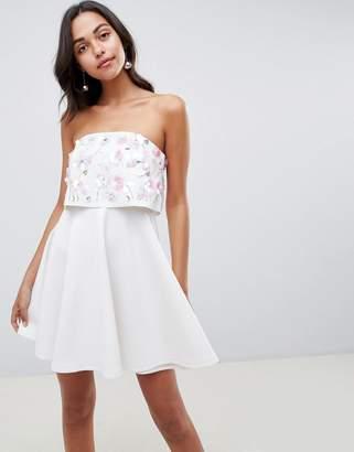 5c23bcac06 Asos Design DESIGN scuba embellished crop top bandeau skater mini dress