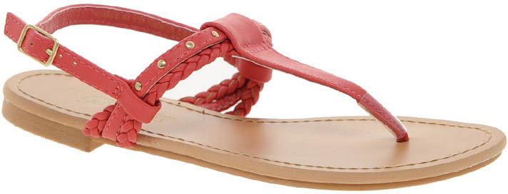 New Look Fiji Woven Studded Coral Toepost Sandals