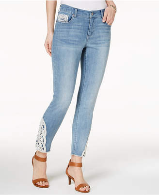 Style&Co. Style & Co Petite Crochet-Trim Skinny Ankle Jeans, Created for Macy's
