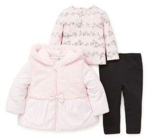 Little Me Baby Girl's Three-Piece Faux Fur Jacket Set