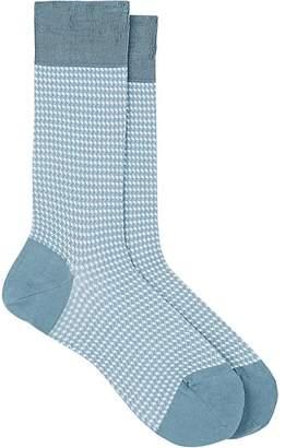 Barneys New York Men's Houndstooth Cotton-Blend Mid-Calf Socks