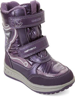 Geox Toddler/Kids Girls) Purple Roby Velcro Boots