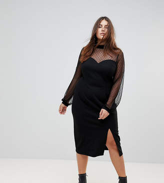 Asos Long Sleeve Dobby Mesh Sweetheart Neck Midi Dress