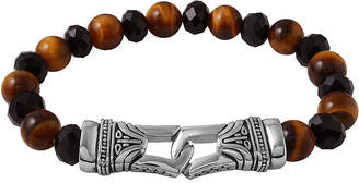 FINE JEWELRY Mens Black Agate and Tiger's Eye Bead and Stainless Steel Bracelet