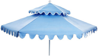 One Kings Lane Daiana Two-Tier Patio Umbrella - Light Blue/White