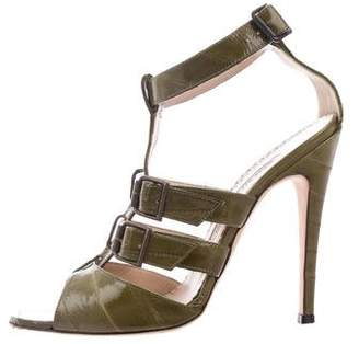 Manolo Blahnik Eel Ankle Strap Sandals
