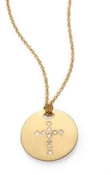 Roberto Coin Tiny Treasures Diamond& 18K Yellow Gold Cross Disc Pendant Necklace