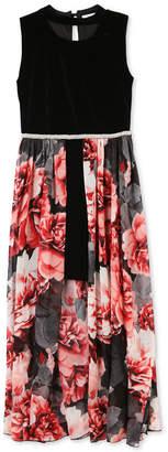 Speechless Big Girls Maxi-Overlay Velvet Dress