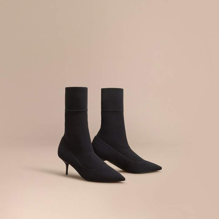 Burberry Mid-calf Knitted Mesh Detail Boots