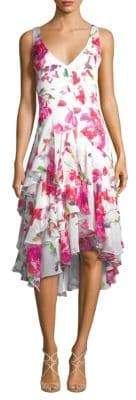 Theia Floral V-Neck Dress