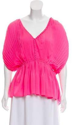 Elizabeth and James Pleated V-Neck Top