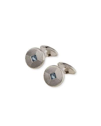 Alfred Dunhilldunhill Rhodium-Plated Art Deco Cuff Links with Topaz Insets, Blue