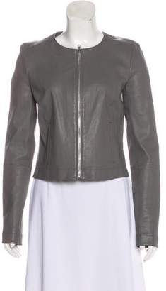 Elizabeth and James Collarless Leather Jacket