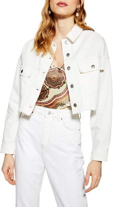 2378e675f White Fitted Denim Jacket - ShopStyle