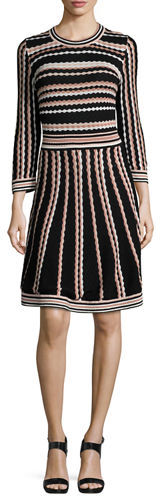 Kate Spade Kate Spade New York Long-Sleeve Striped Fit-And-Flare Dress