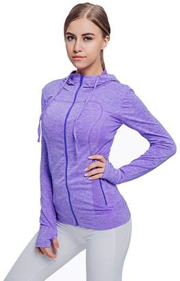 Fitibest Women's Full Zip Hoodie Sports Slim Fit Yoga Running Jacket (, XL)