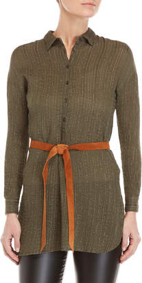 Gaudi' Gaudi Olive Belted Lurex Stripe Tunic Shirt
