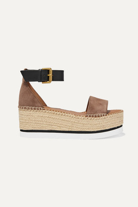 See by Chloe Suede And Leather Espadrille Platform Sandals - Taupe