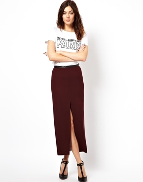 Asos Pencil Skirt with Split Front and PU Waistband - Wine