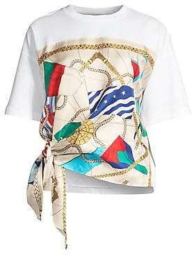 Sandro Women's Josy Silk Print Side Tie Tee