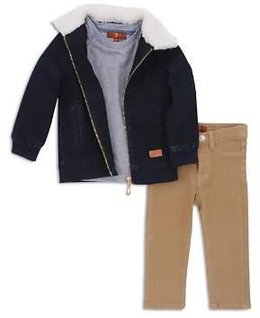 7 For All Mankind Boys' Denim Jacket, Pocket Tee & Twill Pants Set - Little Kid