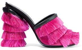Marco De Vincenzo Leather-Trimmed Fringed Satin Mules