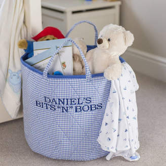 Kiddiewinkles Blue Gingham Toy Storage Basket