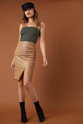 Na Kd Trend Draped PU Skirt Tan