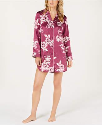 Linea Donatella Sleepy Head Flower-Print Satin Sleepshirt SHM160