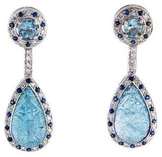 18K Aquamarine, Sapphire & Diamond Drop Earrings