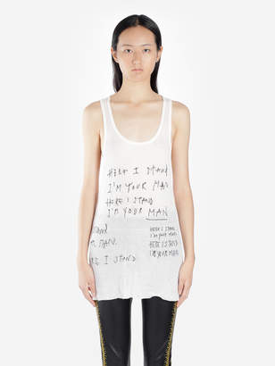 2ebac52fbf11c9 Haider Ackermann WHITE RIBBED TANK TOP WITH WRITING EMBROIDERIES