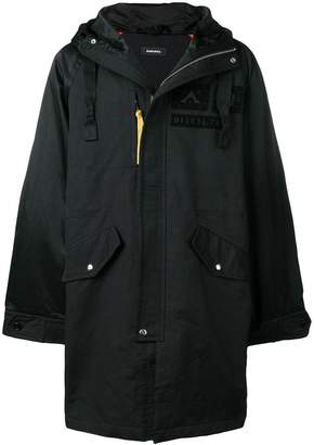Diesel patches hooded parka coat