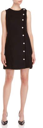 Karl Lagerfeld Black Button Tweed Shift Dress