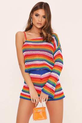 I SAW IT FIRST Rainbow Stripe One Shoulder Knitted Top