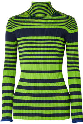 Victoria Beckham Victoria, Striped Ribbed Wool-blend Turtleneck Sweater - Green
