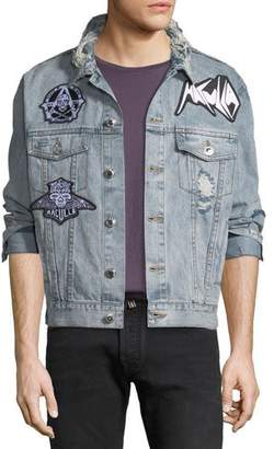 Haculla Men's Light-Wash Denim Patched Jacket
