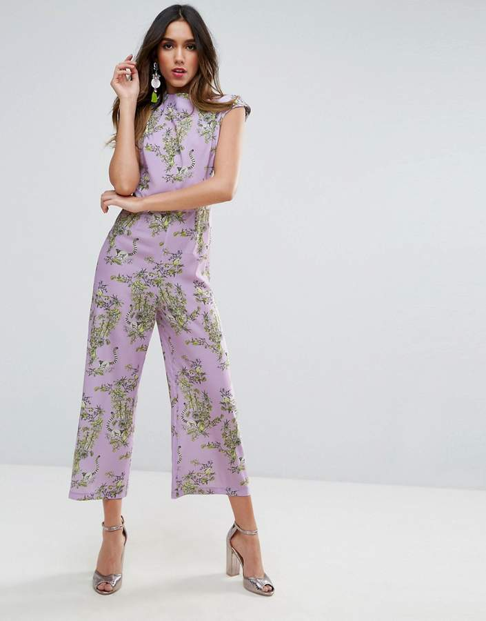AsosASOS Jumpsuit with High Neck and Wide Leg in Print