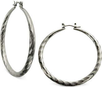 GUESS Silver-Tone Textured Hoop Earrings