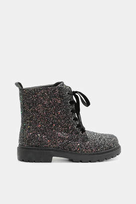 Ardene Lace-Up Glitter Ankle Boots