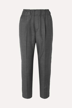 Brunello Cucinelli Cropped Bead-embellished Wool Tapered Pants - Gray