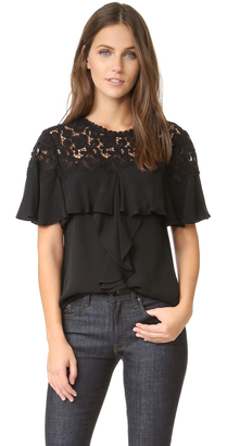 Rebecca Taylor Short Sleeve Georgette & Lace Top $395 thestylecure.com