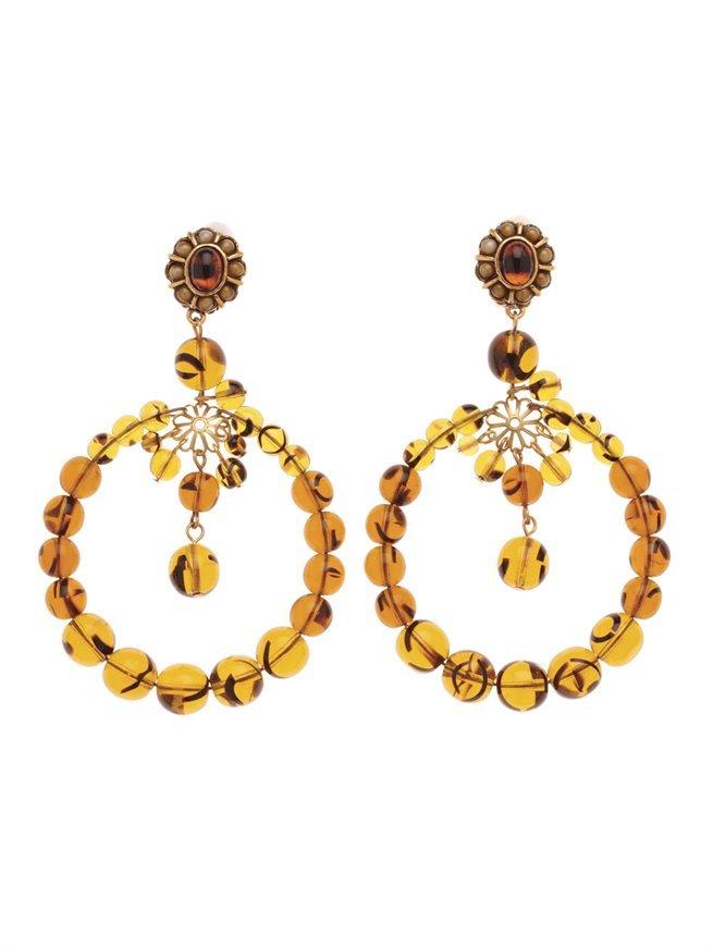 Oscar de la Renta Beaded Circular Drop Earring
