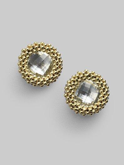 Lagos White Topaz & 18K Gold Stud Earrings